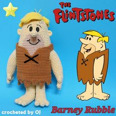 """#crocheteddoll #crochetaddict #designedbyoj #amigurumiaddict #amigurumi #crocheting #crochetoftheday #crochetgeek #haken #haekeln #Flintstone #barney #Rubble Bernard """"Barney"""" Rubble is a cartooncharacter who appears in the televisionanimated series The Flintstones. He is the diminutive, blond-haired caveman husband of Betty Rubble and adoptive father of Bamm-Bamm Rubble. His best friends are his next door neighbors, Fred and Wilma Flintstone."""