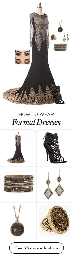 """Gown"" by gone-girl on Polyvore featuring Giuseppe Zanotti, Dana Kellin, Melinda Maria and Chico's"