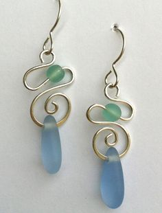 Spiral Mermaid Tear Earrings by carolynrochedesigns on Etsy, $36.00