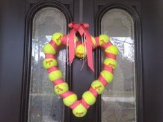 crafts with tennis balls | tennis ball wreath my mom made for valentines day! ... | Craft Ideas