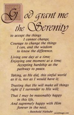 Discover the meaning behind the prayer for serenity. Read all versions of the Serenity Prayer and its History. God grant me the serenity to accept the things I . Serenity Prayer Tattoo, Serenity Quotes, Full Serenity Prayer, Serenity Prayer Long Version, Prayer Board, My Prayer, Daily Prayer, Prayer Ideas, Prayer List