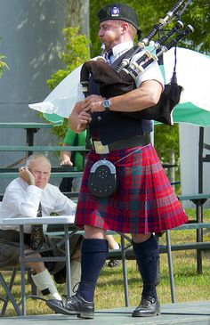 A member of the Toronto Police Pipe Band - performing in individual competition, at the Glengarry Highland Games in Maxville Ontario.