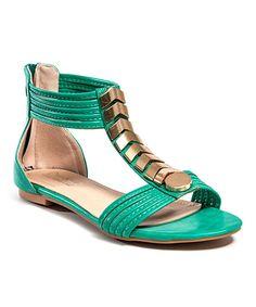 CheckList Green Jets Gladiator Sandal   zulily