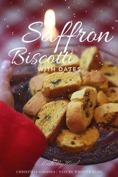 SWEDISH SAFFRON BISCOTTI WITH DATES Swedish Cuisine, New Recipes, Cooking Recipes, Christmas Goodies, Original Recipe, Tray Bakes, Raisin, Whisper, Biscotti