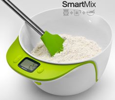 a digital scale, measuring cup, and a mixing bowl combo!