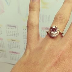 Rose Gold & Morganite and Diamond right hand ring