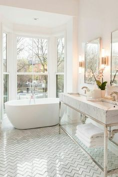 White Marble Mosaics in the Bathroom