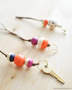 DIY wooden bead keychains