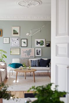 living room with sage green walls and gallery wall Sage Green Walls, Light Green Walls, Sage Green Paint, Green Kitchen Walls, Gray Green, Grey Walls, Light Green Kitchen, Green Sage, Accent Walls