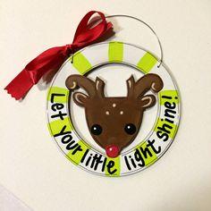 Reindeer ornament - deer ornament - Christmas ornament- personalized ornament- painted ornament- let your light shine - green stripes- by HazelMartinDesigns on Etsy
