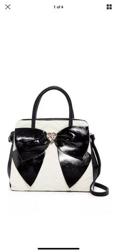 d05d82c9bef8 Betsey Johnson Cream and Black Oversized Bow Satchel Handbag New with Tags  NWT