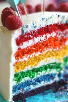 Rainbow Layer Cake from Whisk Kid blog
