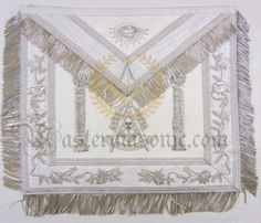 Masonic Deluxe Past Master Apron White With Pillars Grand Lodge, Custom Metal, Past, Aprons, Number, Jewels, Wood, Accessories, Past Tense