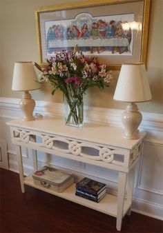 how to make console table s carved trim.  If this is too much for you buy trim fm myoverlay.com & adjust sides accordingly.