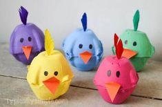 40+ Simple Easter Crafts for Kids - Spring Chicks Egg Carton Craft