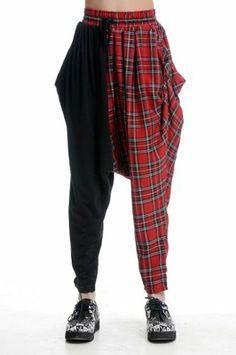 Blooms Punk Women Grid Loose Harem Pants One Size
