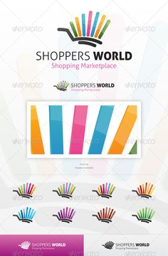 Shoppers World Logo  #GraphicRiver           An excellent logo template suitable for any shopping company, marketplace, or crowd retail business, with a modern and edgy feeling.    This file is easy to edit with highly organized layers, and contains:    Resisable Vector logo;  Vector Horizontal and Vertical display;  Symbol's high resolution files, ready to use;  Symbol's Color Variations as shown in the preview;  Vector Greyscale version;  Vector Black and White version;  Read-me file with…