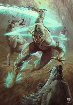 Ciri Dashing is an official concept artwork for The Witcher 3: Wild Hunt, the video game created by CD PROJEKT RED and GWENT, the Witcher card game. The ar