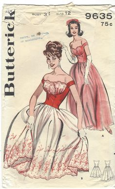 VINTAGE BUTTERICK 9635 PATTERN, SHELF BUST:  Misses Long or Short Evening Dress: (A) Long skirted dress with slightly lowered waistline, petal bodice. (B) Short version with flouncing skirt and