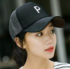 Letter p baseball cap for teenage girls UV protection trucker caps