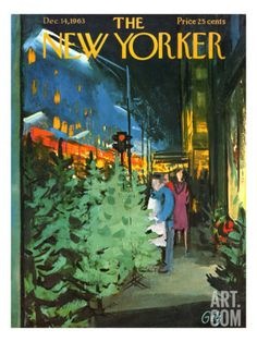 The New Yorker Cover - December 1963 - Arthur Getz What an illustrator this guy was. He did lots of covers for the New Yorker--which is where I first saw his work, but there must be a greater body of work out there. The New Yorker, New Yorker Covers, Christmas Cover, Christmas Art, Vintage Christmas, Xmas, Christmas Sketch, Christmas Pictures, Illustration Noel