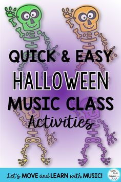 "Here are tons of ideas for the elementary music teacher to use during the month of October. Halloween music class doesn't have to be ""scary"" or ""out of control"". Keep students focused and having fun with these quick and easy Halloween music class activities. #singplaycreate, #elementarymusichalloweenlessons #musicedhalloween   #halloweenmusicactivities, #musicedhalloweensongs, #musicedhalloween #halloweenmusiclessons, #halloweensongsandactivities, #halloweenmusic, #halloweenmusicandmovement"