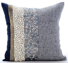 Navy Blue And Silver Cushion Covers, Silk And Jute Pillow Covers, Square Pearl Beads And Sequins Pillows Cover - Navy Pearlized by TheHomeCentric on Etsy Cute Cushions, Throw Cushions, Diy Pillows, Navy Blue Couches, Hand Embroidery Patterns Flowers, Bohemian Furniture, Sequin Pillow, Decorative Pillow Covers, Rugs