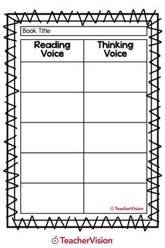 A downloadable Reading Voice vs. Thinking Voice reading activity for elementary students. Perfect for summer learning activities. Reading Resources, Reading Activities, Reading Skills, Writing Skills, Teacher Resources, Enrichment Activities, Writing Practice, Teaching Tips, Learn To Read