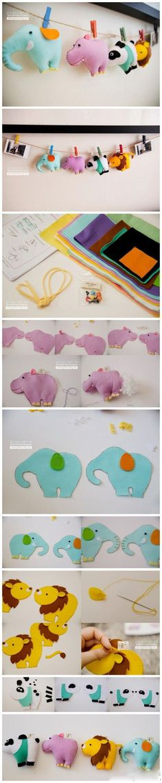 diy felt animal decoration mobile elephant hippo panda lion
