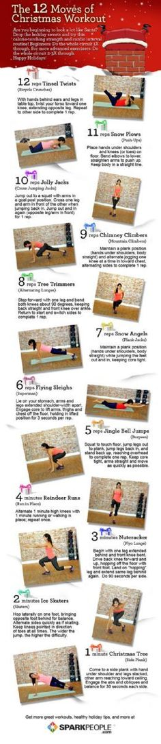 Get Fit with the 12 Moves of Christmas Workout! You'll love getting ho-ho-huge with this Christmas workout. | via @SparkPeople