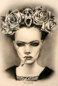 Viva La Frida by Brian Viveros - Skullspiration.com - skull designs, art, fashion and more