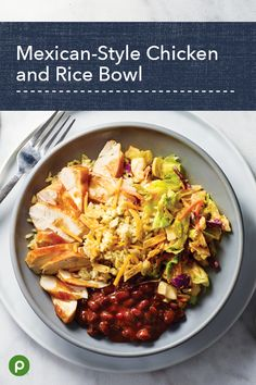Mexican-Style Chicken and Rice Bowl - Publix Aprons Recipes Mexican Dishes, Mexican Food Recipes, New Recipes, Dinner Recipes, Cooking Recipes, Healthy Recipes, Clean Eating, Healthy Eating, Party