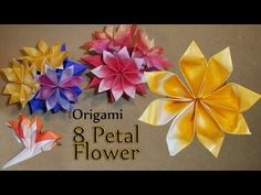 ▶ Origami 8 Petal Flower - YouTube