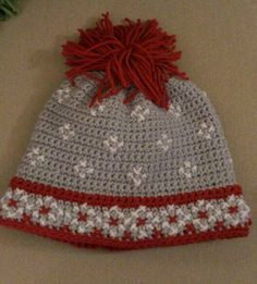 Let it snow!! Scandinavian hat-1/2/13.   Free pattern from RedHeart.com