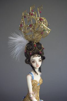 Lolita    2009  Sold    Porcelain, Ball-Jointed. One of a kind. China-painted features and body blush.