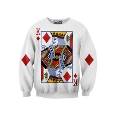 2016 Best Goods Printing Sweater Chinese Star Cards Playing Men Fashion Women Poker Rounder Collar Long Sleeve Cotton