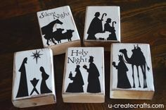 DIY Nativity Stocking Holders instead of stocking holders just use as is and make mantle decoration. Nativity Crafts, Christmas Nativity, Christmas Wood, Christmas Signs, Christmas Projects, Winter Christmas, Holiday Crafts, Holiday Fun, Christmas Stockings