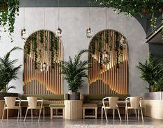 green leaves cafe on Behance Interior Design Minimalist, Restaurant Interior Design, Design Hotel, Minimalist Bedroom, Coffee Cafe Interior, Cake Shop Interior, Showroom Interior Design, Restaurant Interiors, Lobby Design