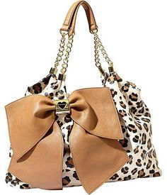 Betsey Johnson Bow Licious Leopard and Gold Tote Purse