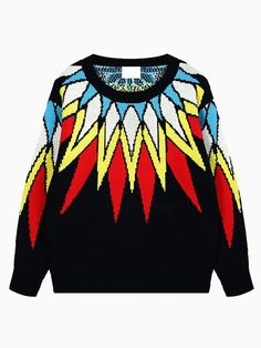 Oversize Sweater In Multicolor Feather Print