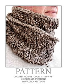 """Crochet Patterns Men """"It's a man thing"""" - long crochet mobius with a country tracks texture pat. Crochet Mens Scarf, Crochet Scarves, Diy Crochet, Vintage Crochet, Crochet Hats, Ravelry Crochet, Crochet Summer, Crochet Ideas, Crochet Projects"""