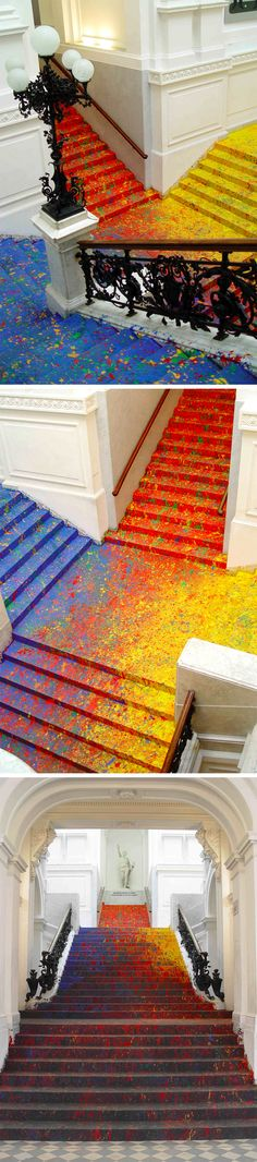 Artist Leon Tarasewicz Covers the Poland National Gallery's Great Hall Staircase in Splatter Paint Piso pintado y paredes blancas Art Conceptual, Illusion Kunst, Espace Design, Instalation Art, National Gallery, Wow Art, Stairway To Heaven, Deco Design, Paint Splatter