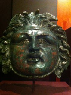 Bronze and silver Medusa from a shield. 2nd-3rd AD. MMoCA.315 from the Musee d'Art Classique at Mougins. http://www.mouginsmusee.com/