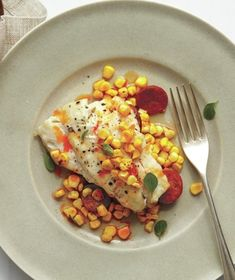 Fish, Corn, and Chorizo Grill Packets from realsimple.com #myplate #protein