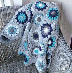 Gray and Blue Baby Blanket - Crochet Hexagon Blanket Crochet Hexagon  Blanket 3f8966356a6b