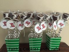Football marshmallow pops #twine from #PYP, Straws and containers from @orientaltrading