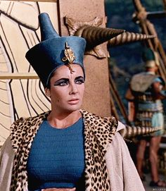 Cleopatra wearing the Blue Crown - The Khepresh was an ancient Egyptian royal headdress. It is also known as the blue crown or war crown [though not this form.] New Kingdom pharaohs are often shown wearing it in battle, but it was also frequently worn in ceremonies. It used to be called a war crown by many, but modern historians refrain from defining it thus