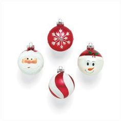 Christmas Ornaments. Decorate your tree with this set of glass ball ornaments, celebrating the traditions of Christmas. Designs include Santa, snowflake, snowman and candy cane. Set of 4.. Price: $10.48