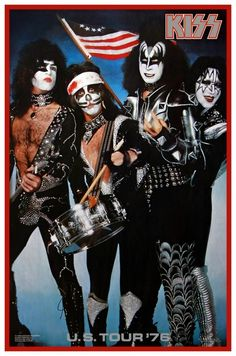 Kiss U. Tour 1976 Bicentennial Spirit Of 76 Poster Gene Simmons Kiss Band, Kiss Rock Bands, Rock N Roll, Rock & Pop, Paul Stanley, Gene Simmons, Rock Posters, Concert Posters, Music Posters