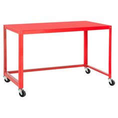 Sewing room  Bring contemporary-chic style to your home office or den with this sleek metal desk, showcasing an eye-catching red finish and a castered base. ...
